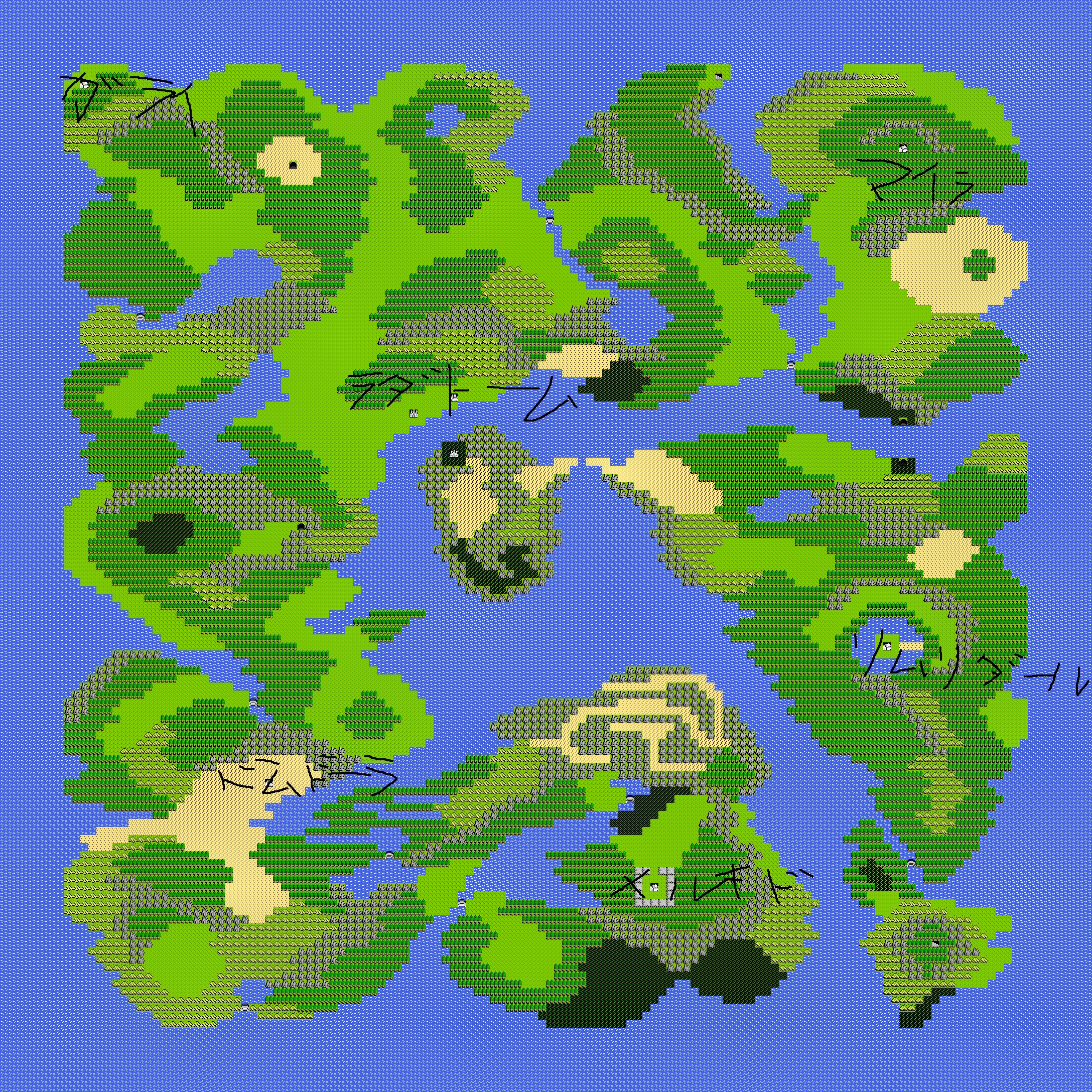 ドラゴンクエスト1世界地図 : フリー 世界地図 : 世界地図